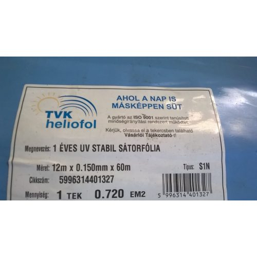 1 éves sátorfólia UV 12m x 0,15mm x 60m 8x hajtott S1N