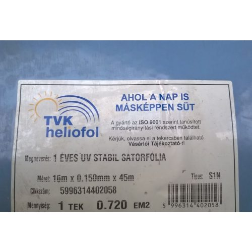 1 éves sátorfólia UV 16m x 0,15mm x 45m S1N